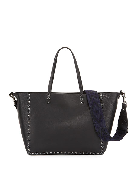 Valentino Rockstud Rolling Medium Reversible Tote Bag, Black