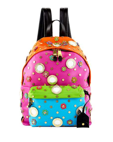 Moschino Trinket Embellished Leather Backpack, Multi