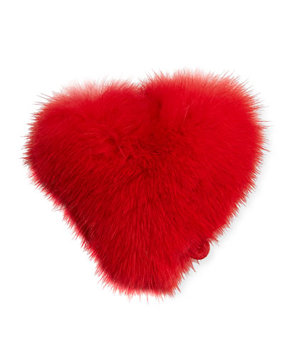 Heart Mink Sticker for Handbag, Red