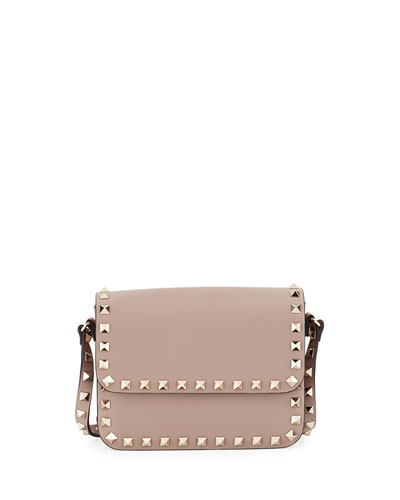 Rockstud Small Flap-Top Crossbody Bag, Beige