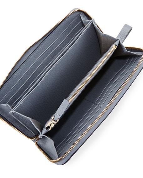 Rockstud Zip-Around Wallet, Light Gray
