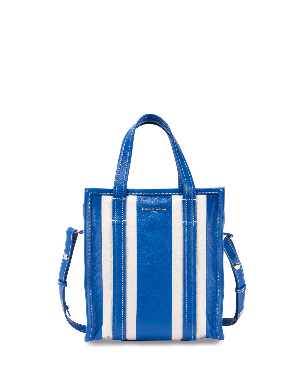 4cc0c682f Balenciaga Bazar Shopper Arena Striped Extra-Small Tote Bag, Blue/White  (Bleu