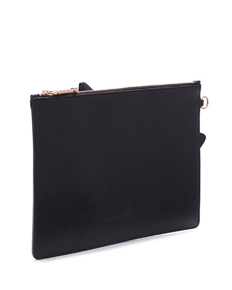 Flossy Butterfly Leather Pouch Bag, Black