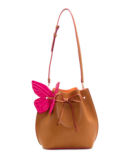 Remi Butterfly Leather Bucket Bag, Tan/Magenta