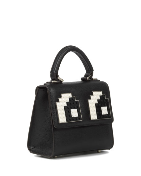 Micro Alex Eyes Satchel Bag, Black