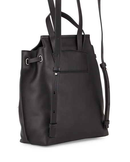 Zip Leather Flap Backpack, Black