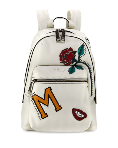 MJ Collage Biker Leather Backpack, Dove/Multi