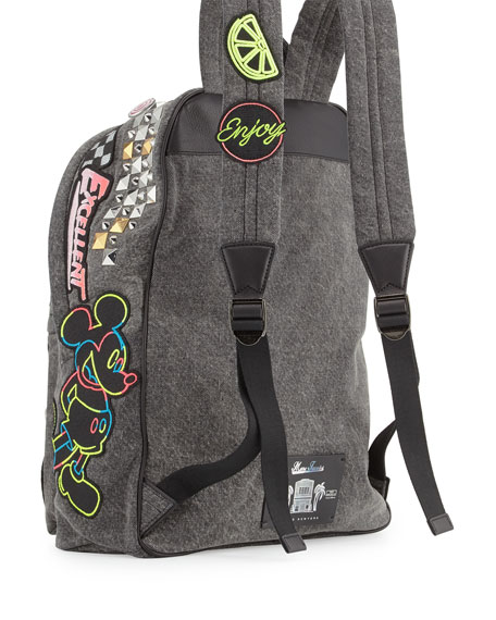 Paradise Biker Denim Backpack, Black/Multi