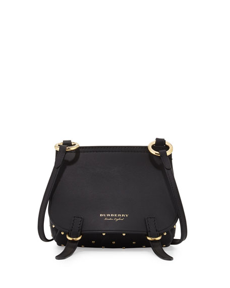 Burberry Bridle Baby Studded Leather Shoulder Bag, Black