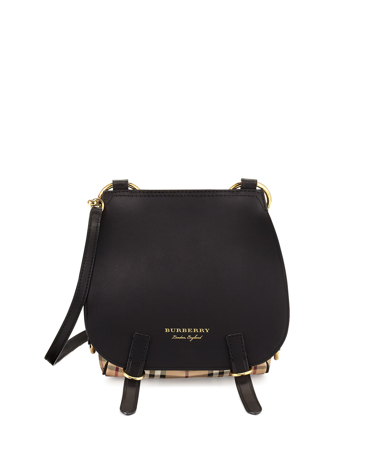 06543be9e0b7 Burberry Bridle Leather and Haymarket Check Shoulder Bag