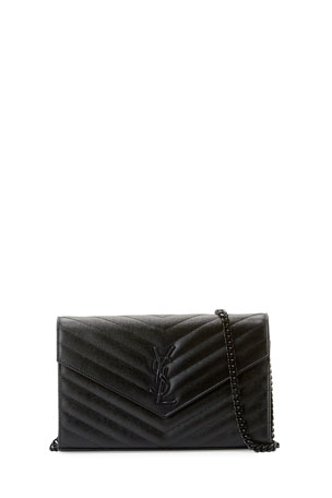 Saint Laurent Monogramme Grain de Poudre Leather Wallet-on-Chain, Black Hardware