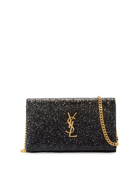 Saint Laurent Monogram Small Glitter Wallet-on-Chain, Black