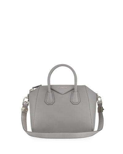 Antigona Small Sugar Satchel Bag, Pearl Gray