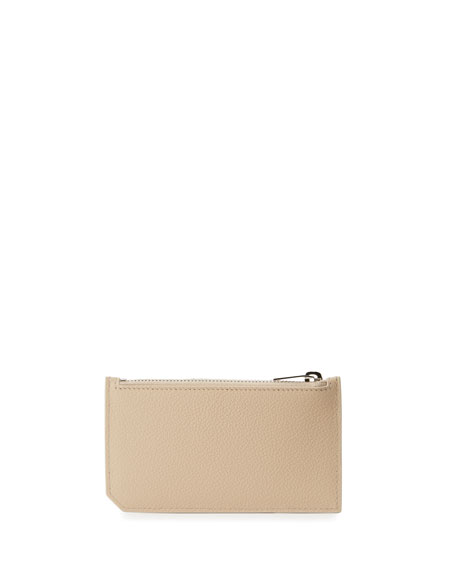 5 Fragments Leather Zip Pouch, Beige