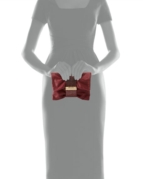 Chandra Small Crystal Clutch Bag, Bordeaux