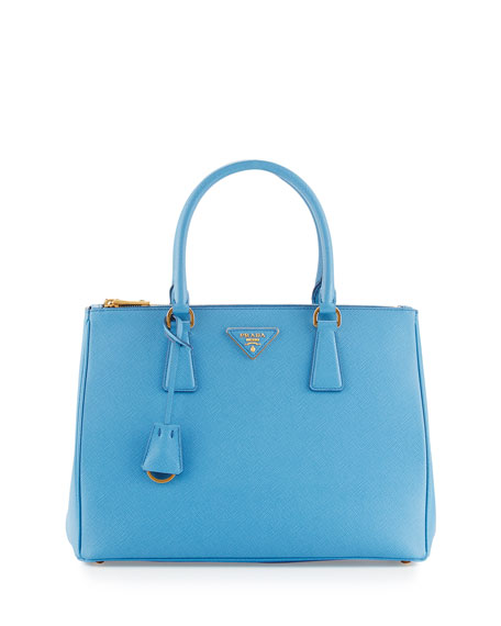 Galleria Saffiano Double-Zip Tote Bag, Blue