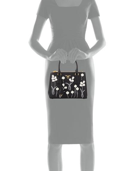 Small Saffiano Galleria Floral Double-Zip Tote Bag, Black/White (Nero+Bianco)