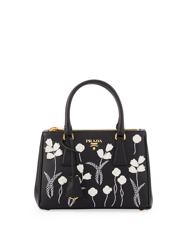 b378de17d623 PradaSmall Saffiano Galleria Floral Double-Zip Tote Bag