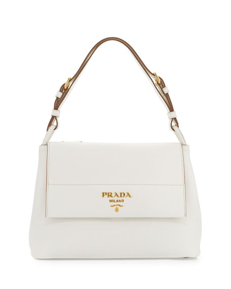Vitello Daino Shoulder Bag, White (Bianco)
