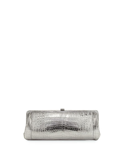Crocodile Slim Frame Clutch Bag, Anthracite Mirror