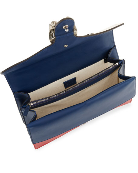 Dionysus Medium Embroidered Leather Shoulder Bag, White/Red/Blue