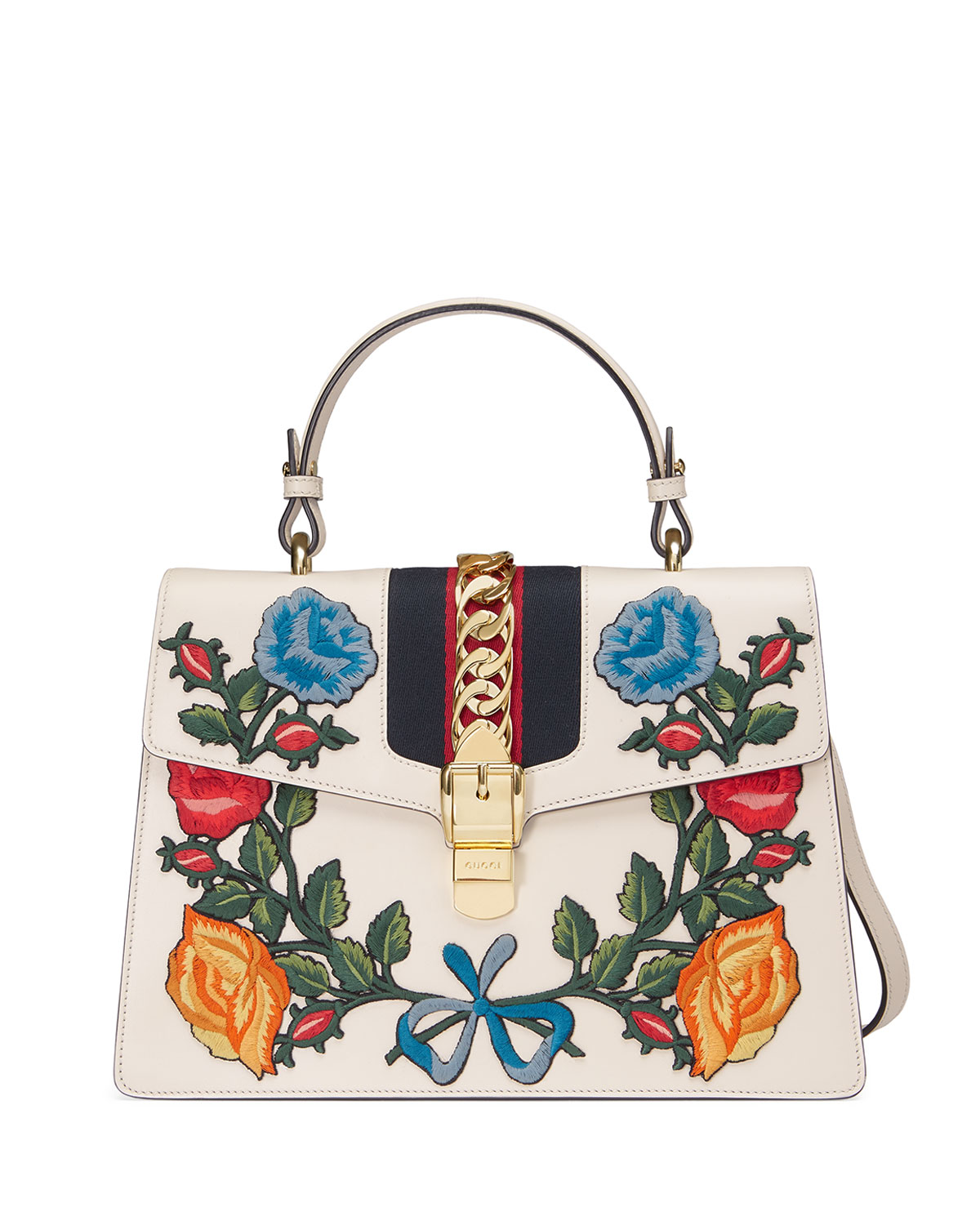 bd6b7567d4f Gucci Sylvie Embroidered Leather Top-Handle Satchel Bag