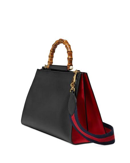 Nymphea Medium Bamboo-Handle Tote Bag, Black/Red