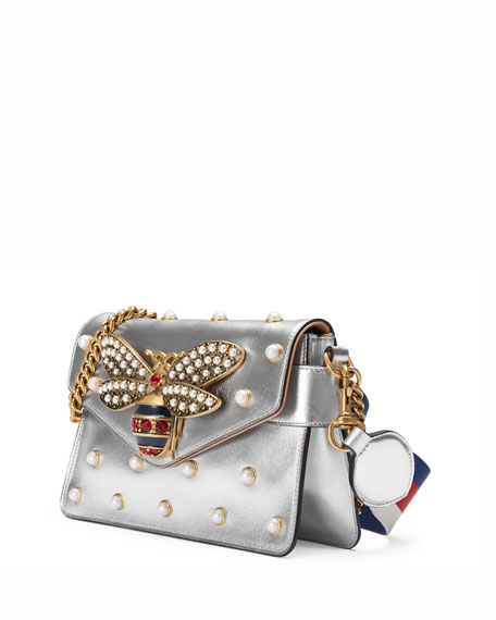 Broadway Pearly Bee Shoulder Bag, Silver
