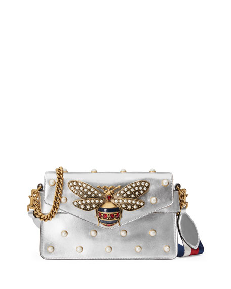 Gucci Broadway Pearly Bee Shoulder Bag, Silver