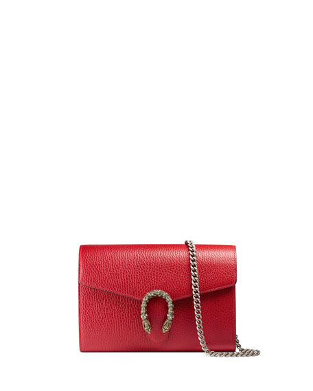 Dionysus Leather Mini Chain Wallet, Red