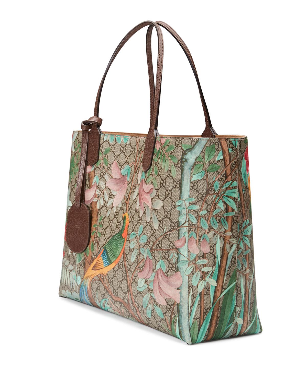 9ac2b5f05 Gucci Tian GG Supreme Large Tote Bag, Brown | Neiman Marcus