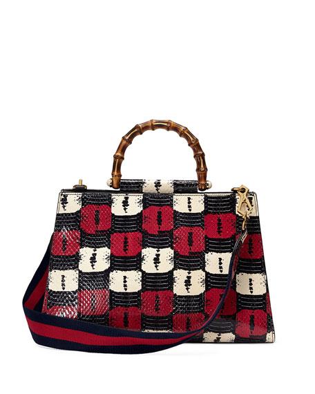 Nymphea Medium Bamboo-Handle Tote Bag, Blue/White/Red
