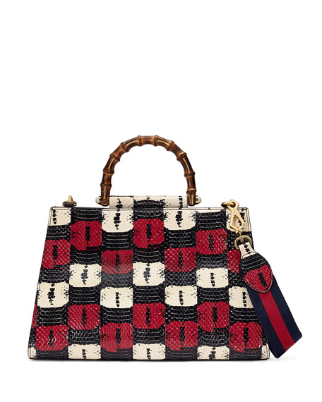 Gucci Nymphea Medium Bamboo-Handle Tote Bag, Blue/White/Red