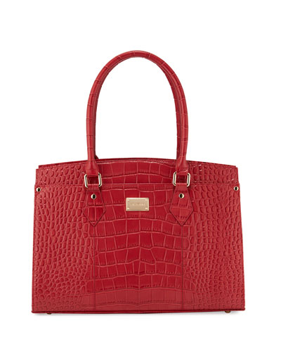 Croc-Embossed Leather Work Tote Bag, Red/Golden