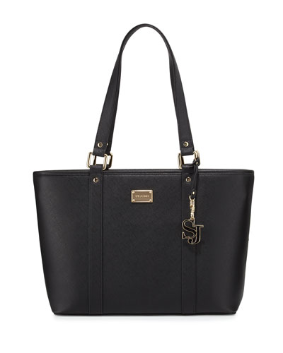 Faux-Leather Zip-Top Tote Bag, Black