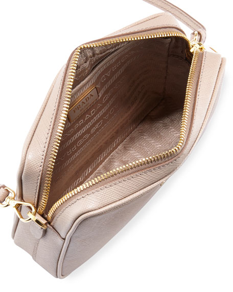 Small Saffiano Camera Crossbody Bag, Cammeo (Beige)