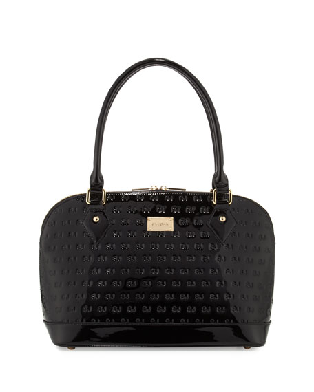 Logo-Embossed Patent Dome Bag, Black/Gold