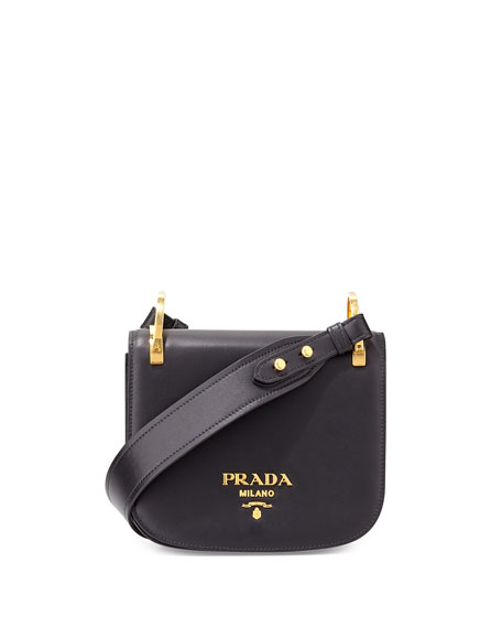Prada Pionnière Leather Shoulder Bag, Black (Nero)