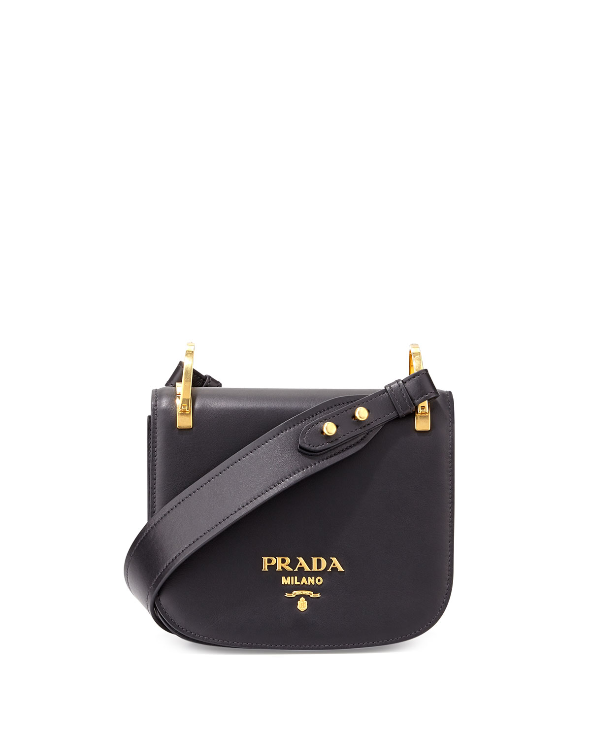 7097c40bc632 Prada Pionniere Leather Shoulder Bag, Black (Nero) | Neiman Marcus