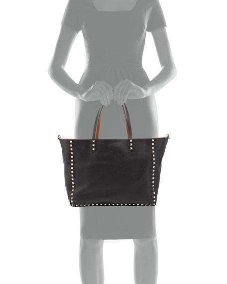 Medium Double Rockstud Reversible Tote Bag, Black/Tan