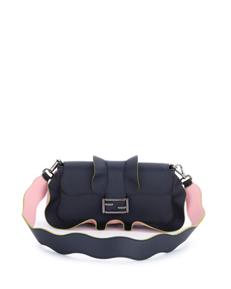 Fendi Baguette Wave Leather Bag, Blue/Pink