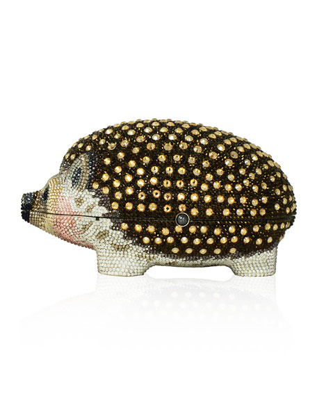 Hedgehog Wilbur Evening Clutch Bag, Silver/Jet/Multi