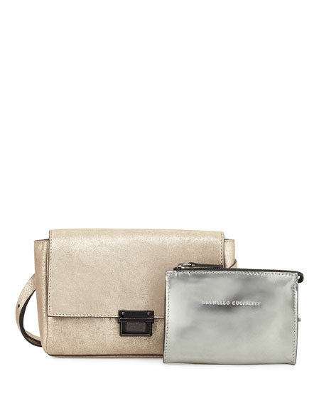 Brunello Cucinelli Metallic Leather Double-Pouch Belt Bag, Gray