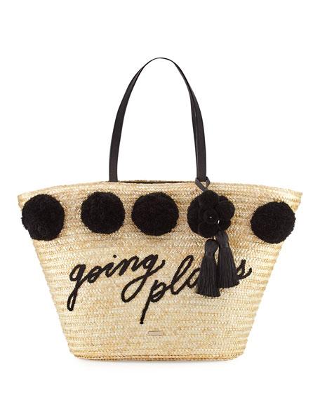 lewis way large pom market tote bag, black
