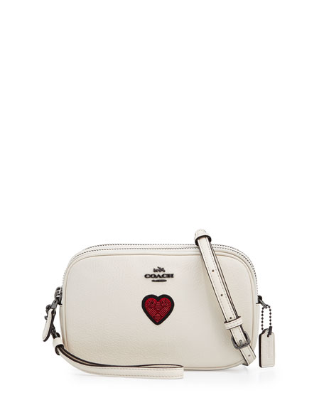 Coach Heart-Embroidered Oval Crossbody Clutch Bag, Dark