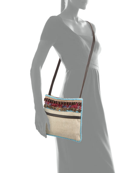 Calista Beaded & Embellished Beach Crossbody Bag, Beige