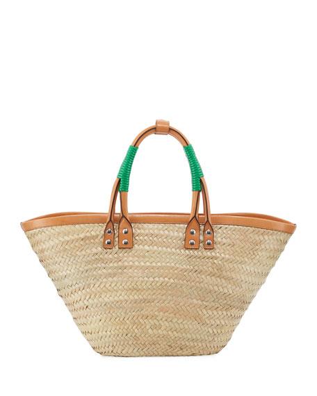 Bistro Panier Small Straw Tote Bag, Green