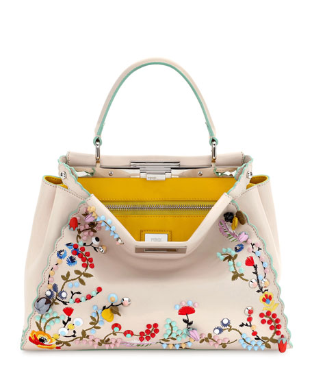 Peekaboo Large Floral-Embroidered Satchel Bag, Beige