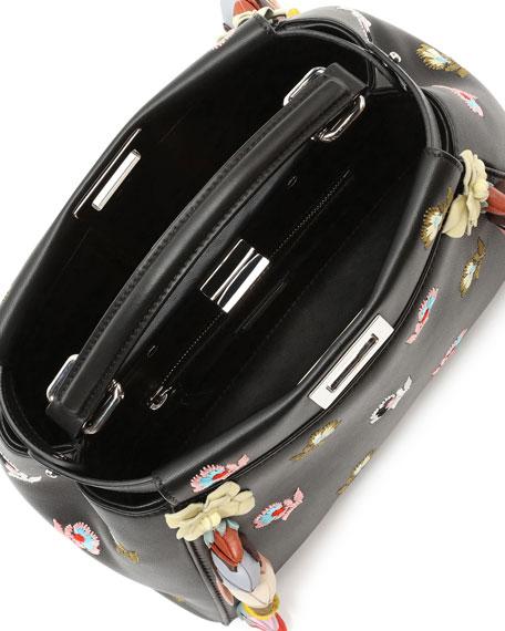 Peekaboo Mini Floral-Embroidered Satchel Bag, Black