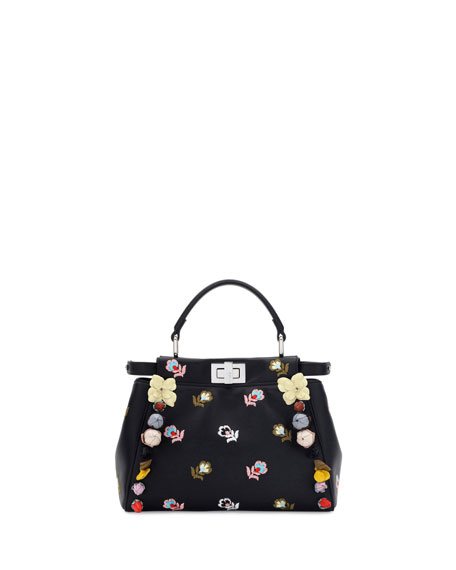 Fendi Peekaboo Mini Floral-Embroidered Satchel Bag, Black